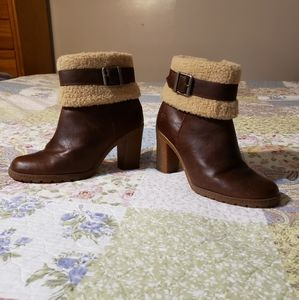 Timberland Glancy Fleece Fold Down Med Brown Boots